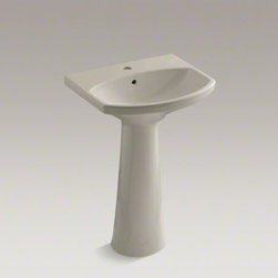 KOHLER - KOHLER Cimarron(R) pedestal bathroom sink with single faucet hole - The Cimarron collection combines the best of traditional and contemporary design for a versatile look that complements a range of bathroom styles. Beveled edges and simple lines enhance the uniquely shaped basin.