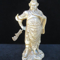 Chinese Silver Color General Guan Metal Statue - General Guan, Yu is an image of loyalty & valor in Chinese culture. People believe that they and their families can get protected by owning the statue or image. This General Guan statue is made of Metal (should be Tibetan copper) and has detailed graphic carving and charming silver color.
