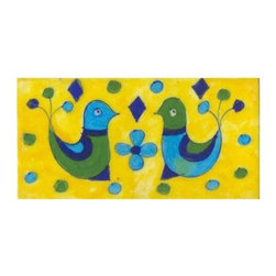 "Knobco - Tiles 3X6""Inch, Two Birds With Flowers On Yellow - Two birds with flowers on yellow tile from Jaipur, India. Unique, hand painted tiles for your kitchen or other tiling project. Tile is 3x6"" in size."