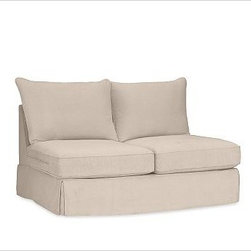 """PB Comfort Square Arm SectionalArmless Love Seat Knife-EdgeWashed Linen-CottonSt - Designed exclusively for our versatile PB Comfort Square Sectional Components, these soft, inviting slipcovers retain their smooth fit and remove easily for cleaning. Left Armchair with Box Cushions is shown. Select """"Living Room"""" in our {{link path='http://potterybarn.icovia.com/icovia.aspx' class='popup' width='900' height='700'}}Room Planner{{/link}} to select a configuration that's ideal for your space. This item can also be customized with your choice of over {{link path='pages/popups/fab_leather_popup.html' class='popup' width='720' height='800'}}80 custom fabrics and colors{{/link}}. For details and pricing on custom fabrics, please call us at 1.800.840.3658 or click Live Help. Fabrics are hand selected for softness, quality and durability. All slipcover fabrics are hand selected for softness, quality and durability. {{link path='pages/popups/sectionalsheet.html' class='popup' width='720' height='800'}}Left-arm or right-arm{{/link}} is determined by the location of the arm as you face the piece. This is a special-order item and ships directly from the manufacturer. To see fabrics available for Quick Ship and to view our order and return policy, click on the Shipping Info tab above. Watch a video about our exclusive {{link path='/stylehouse/videos/videos/pbq_v36_rel.html?cm_sp=Video_PIP-_-PBQUALITY-_-SUTTER_STREET' class='popup' width='950' height='300'}}North Carolina Furniture Workshop{{/link}}."""