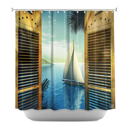 DiaNoche Designs - Set Sail Shower Curtain - Sewn reinforced holes for shower curtain rings. Shower curtain rings not included. Dye Sublimation printing adheres the ink to the material for long life and durability. Machine washable. Made in USA.
