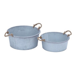 Benzara - Planter in Flaunt Patina Finish and Rustic Charm - Set of 2 - Attractively designed to bring elegance to your home decor, this Metal Planter in Flaunt Patina Finish & Rustic Charm (Set of 2) is a set of solid metal planters sporting jute handles in disorderly pattern to give a much worn out antique look. Place any houseplant in this beautifully designed planter to lend a sophisticated look to your interiors. Adorn your living room, lobby or dining room with this planter. The metal planters feature a patina finish that brings a rustic charm to your living space. The decor piece exudes simplicity and grace while the superior metal construction makes it durable and sturdy. These sets of 2 traditional circular planters come in two different sizes and can be used in or around the home or garden area.