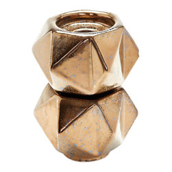 Lazy Susan - Small Ceramic Star Candle Holders, Gold Set Of 2 - Handcrafted In Earthenware And Finished In A Rich Gold Tone Glaze These Geometric Forms Are Based On Origami. Origami Is Now Considered A Modern Art Form After Being Popularized Outside Of Japan In The Mid-90'S.