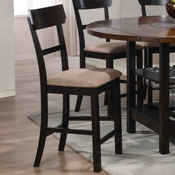 Coaster - Cantrell Counter Height Stool, Light/Dark Walnut - Set of 2 - Furnish your dining room with a high top table and stool set that offers an inviting feel. This round, counter height table features sabered leg supports that extend down to reveal a storage shelf with vertical side supports. Surrounding the counter height table are stools that feature sleek, straight lined back designs for a crisp, clean look. Enjoy a casual dinner with a few of your best friends using the Cantrell counter height collection.