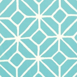 Schumacher - Trellis Print Fabric, Pool - 2 YARD MINIMUM ORDER