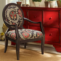 Madison Park - Madison Park Malibu Oval Back Exposed Wood Arm Chair - Pops of deep red within its organic floral print combined with the oval back frame featuring a rich rubbed black finish, makes this chair a definite fashion statement. Some assembly required. Wood Finish: Rubbed Black Material: Hand Carved Birch Hardwood Frame Fabrication: 100% Polyester Filling: High Density Foam