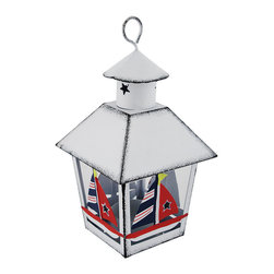 Zeckos - White Nautical Sailboat Mini Metal Tealight Lantern - This miniature metal tea light lantern can be displayed either hanging or sitting on a tabletop, making it a great little decor accent or part of a party centerpiece. The lantern is approximately 7 inches tall (not including the hanger), and measures 4 inches by 4 inches around the top. It is painted with a white enamel, has a distressed finish, and the sailboats are hand painted. The tea light holder is removable from the bottom and can accommodate up to 1 1/2 inch tea light candles. Use battery operated LED tea lights for worry-free accent lighting that lasts all night. This lantern is a great accent in rooms, on porches, or at bars with beach or nautical themes.