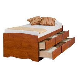 "Prepac - Cherry Tall Twin Captain's Platform Storage Bed with 6 Drawers - Imagine how much more storage space you'd have with the Tall Twin Captain's Platform Storage Bed with 6 Drawers. Designed to accommodate twin-sized mattresses, this captain's bed is perfect for bedrooms where space is at a premium. With six 18"" deep drawers that can be installed on either side of the bed, you'll actually gain space while storing clothing, linens and more! You won't need a box spring, either: the slat support system needs nothing more than your mattress. So get rid of space-stealers and get this space-saving solution.; Suitable for twin-sized mattresses; Sturdy drawers with solid wood sides glide on metal runners with built-in safety stops; Finger pulls at the bottom of each drawer front for easy opening; Six 18"" deep drawers can be positioned on either side of the bed; Wood slats positioned length-wise distribute body weight evenly to ensure a good night's sleep; Finished in durable warm cherry laminate; Constructed from CARB-compliant, laminated composite woods; Ships Ready to Assemble, includes an instruction booklet for easy assembly and has a 5-year manufacturer's limited warranty on parts; Proudly manufactured in North America; Total Weight Capacity: 250 lbs; Dimensions: Assembled Dimensions: 41""W x 27""H x 76.5""D; Internal Drawer Dimensions: 21.5""W x 5""H x 18""D"