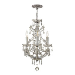 Crystorama - Crystorama 4473-CH-CL-S Maria Theresa 3 Light Mini Chandeliers - There's undeniable magic when light meets crystal or glass. It sparks the same fire one sees when light meets precious and semi-precious stones. Great lighting often takes styling cues from jewelry as well, with its primary use of gold and silver tones. Just like an outfit isn't complete without the perfect necklace, bracelet or earrings, a room isn't complete until it has lighting that adds the WOW factor when you walk in.
