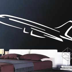 StickONmania - Airplane Sticker - A cool airplane design for your wall. Decorate your home with original vinyl decals made to order in our shop located in the USA. We only use the best equipment and materials to guarantee the everlasting quality of each vinyl sticker. Our original wall art design stickers are easy to apply on most flat surfaces, including slightly textured walls, windows, mirrors, or any smooth surface. Some wall decals may come in multiple pieces due to the size of the design, different sizes of most of our vinyl stickers are available, please message us for a quote. Interior wall decor stickers come with a MATTE finish that is easier to remove from painted surfaces but Exterior stickers for cars,  bathrooms and refrigerators come with a stickier GLOSSY finish that can also be used for exterior purposes. We DO NOT recommend using glossy finish stickers on walls. All of our Vinyl wall decals are removable but not re-positionable, simply peel and stick, no glue or chemicals needed. Our decals always come with instructions and if you order from Houzz we will always add a small thank you gift.