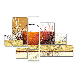 """Fabuart - Large 8 Panels Abstract Painting  """"Hay Stack"""" - 57 x 36in - Ready to Hang - This beautiful Art is 100% hand-painted on canvas by one of our professional artists. Our experienced artists start with a blank canvas and paint each and every brushstroke by hand."""