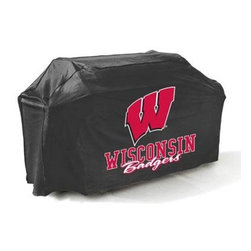 "Mr Bar B Q - Wisconsin Badgers Grill Cover - Wisconsin Badgers Grill Cover. . There's no better way to show of your team pride than this college grill cover. with a huge custom designed logo on the front you'll be the envy of your neighbors at the next block party or BBQ. Measuring 65x25x40"" it fits most gas grills but it's more than just a show piece for your backyard it's made of high quality materials that will protect your grill from the elements. This cover resists mold mildew and extreme temperatures. The underside is soft protecting your grills finish while the outer layer is coated to protect from rain UV Rays pollen dirt sap and rain keeping your grill protected throughout the seasons and ready for the next big game! This item cannot be shipped to APO/FPO addresses. Please accept our apologies."