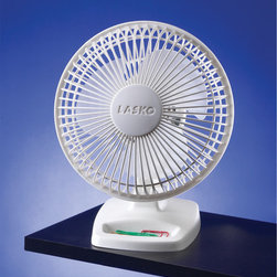 "Lasko - 6"" Personal Fan, 2-Speed - The Lasko 2002W 6 In. Personal Fan, in white, pivots up and down for focused, personal attention so you can aim the cool air blast right where you need it. The durable, impact-resistant plastic fan features 2 quiet speeds. Keep change, paper clips, and other small office supplies handy in the fan's storage compartment. Stay cool at the office with the Lasko Personal Fan tucked away on your desk.6-Inch personal fan is ideal for office (desk), bedroom (night stand) and more."