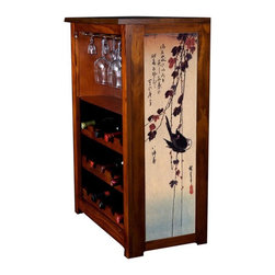 Kelseys Collection - Wine Cabinet 15 bottle Blackbird on Ivy by Hiroshige - The Jessica Wine Cabinet showcases and stores wine and glassware with solid  pine construction. Famous artwork is giclee-printed on canvas side panels. The licensed art is from among the World's Best Selling and Recognized Artists. Solid  radiata pine with a hand stained and hand rubbed rubbed medium reddish brown finish. The art is giclee printed on canvas with three coats of UV inhibitor. The canvas is then glued onto panels and inserted into the frames. The overall dimensions are 33  by 22  by 11.5  Net weight 20# Three racks each holding 5 bottles.  Shelf, and stemware holder.  Estimated assembly time   20 minutes
