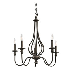 Kichler Lighting - Kichler Lighting 43330OZ Kensington Traditional Classic Chandelier - You can scour antique stores for that perfect vintage birdcage - or you can add a touch of that style when you bring this 5 light chandelier from the Kensington™ collection home. Slender ironwork ebbs and flows in an Olde Bronze™ finish, creating an elegant interpretation of a decorating classic.