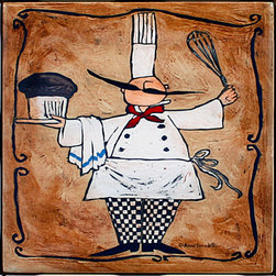 "Tile Art Gallery - Chef with Whisk - Ceramic Accent Tile, 4.25 in - This is a beautiful sublimation printed ceramic tile entitled ""Chef with Whisk"" by artist Anne Tavoletti. The printed tile displays an Italian themed Chef. Pricing starts at just $14.95 for a 4.25 inch tile."