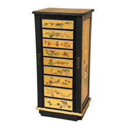 Oriental Furniture - 9 Drawer Gold Lacquer Jewelry Cabinet - An elegant oriental style accent, as well as a very solidly built and practically designed jewelry armoire. Finished with an eye catching 24 carat gold leaf applique, covered in a durable, medium gloss clear lacquer, and hand painted with a lovely Ming era birds and flowers art motif. The scalloped edge top lifts to reveal a framed vanity mirror. Both sides open to provide finely lined cabinet space with necklace hooks. Nine closely fitted, smooth action drawers, beautifully lined with a distinctive sateen brocade fabric, can accommodate a vast, cherished jewelry collection.