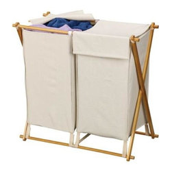 Household Essentials - Bamboo X-Frame With Double Sort Bag - X marks the spot with our side-by-side hamper set. Its long frame features two removable polyester bags with attached blanket lids, keeping contents discreetly under wraps until laundry day.