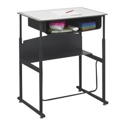 """Safco - Safco AlphaBetter 24"""" x 36"""" Student Desk in Beige with Book Box - Safco - Computer Desks - 1207BE - The Safco Alpha Better Student 24"""" �x 36"""" � Desk is designed for students between grades 3 and 12 to aid your students comfort and focus at home or in the classroom. for many students everyday classroom life involves trying to sit still taking focus away from learning. with the Alpha Better Desk students are able to stand up during the school day and move around without being a distraction to their classmates or teachers all while improving their concentration. This completely new way of learning is creating a more productive learning environment. Research has shown standing alone can burn extra calories and with the ability to move around students burn more excess energy and improves focus."""