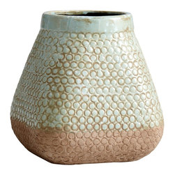 Cyan Design - Cyan Design Pershing Large Transitional Planter - From the Pershing Collection, this Cyan Design large planter takes on the shape of a vintage basket. The shape is complimented by a dipped paint finish, with shades of Blue and Sandstone over the circular patterned and textured terra cotta body.