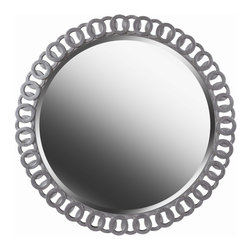 Design Craft - Cascade Wall Mirror - Whether your home is traditional or contemporary,Cascade will be sure to make an impact. At 34 inches wide,Cascade is framed with a bright silver intertwined pattern. This rounded mirror adds glamour and elegance to any space in your home.