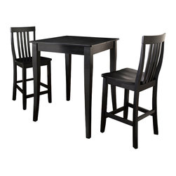 Crosley - 3-Piece Pub Dining Set - Cabriole Leg - School House Stools - Black - Constructed of solid hardwood and wood veneers, the 3 piece Pub / High Dining set is built to last. Whether you are looking for dining for two, or just a great addition to the basement or bar area, this set is sure to add a touch of style to any area of your home.