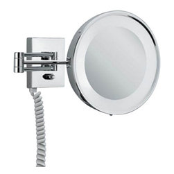 "Decor Walther - Decor Walther BS 25 PL Cosmetic Mirror - The BS 25 PL cosmetic mirror has been designed and made by Decor Walther.   The BS 25 PL cosmetic mirror of Decor Walther s a well-crafted processed  item for upscale bathroom. By the noble chrome surface of the vanity  mirror looks very valued and make applying makeup, shaving and other  activities easier and more enjoyable. Alternatively, you can choose  between a 3-fold or 5-fold magnification.  Product Details:  The BS 25 PL cosmetic mirror has been designed and made by Decor Walther.   The BS 25 PL cosmetic mirror of Decor Walther is a well-crafted processed  item for upscale bathroom. By the noble chrome surface of the vanity  mirror looks very valued and make applying makeup, shaving and other  activities easier and more enjoyable. The BS 25 PL available in a 3-fold  magnification also equipped with swivelling spiral cable, plug and socket.  Details:                                      Manufacturer:                                      Decor Walther                                                                  Designer:                                     In House Design                                                                  Made in:                                     Germany                                                                  Dimensions:                                      Height: 8.66"" (22 cm ) X Depth: 19.90"" (48 cm)                                                                   Light bulb:                                      2 x G23 Max 7W                                                                  Material:                                      Metal"