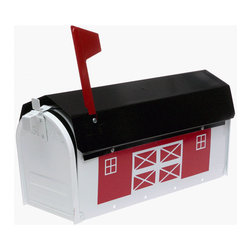 FULTON CORP - Red Barn Metal Mailbox - Decorative mailbox features a rural red barn design with white trim and a black roof, enhanced with a portcullis and weathervane