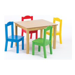 Tot Tutors - Kids 5 Piece Wood Table and Chair Set - Features: -White painted wood table and chairs set is simple in design.-Perfect size for little girls' lunch for four, art projects or storytime.-Includes table and four chairs.-Includes four vibrant pastel-painted chairs and white wood table.-Sturdy wood construction.-Distressed: No.-Seating Included: Yes .Dimensions: -Overall Product Weight: 34 lbs.Assembly: -Assembly required.