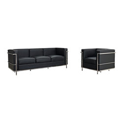 Modway - Modway EEI-945 Charles Petite 3 Piece Sofa Set in Black - Urban life has always a quandary for designers. While the torrent of external stimuli surrounds, the designer is vested with the task of introducing calm to the scene. From out of the surging wave of progress, the most talented can fashion a forcefield of tranquility.