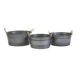 "IMAX CORPORATION - Bayou Galvanized Tubs - Set of 3 - The versatile look of the Bayou galvanized tubs feature rope handles, making this set of three a stylish storage solution for shabby chic, industrial, rustic or coastal decor. Includes small, medium and large stackable sizes. Set of 3 in various sizes measuring around 23""L x 21""W x 21.5""H each. Shop home furnishings, decor, and accessories from Posh Urban Furnishings. Beautiful, stylish furniture and decor that will brighten your home instantly. Shop modern, traditional, vintage, and world designs."