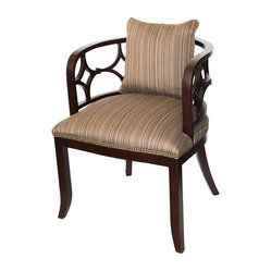 Striped Lattice Back Chair - Pair