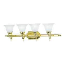 "Livex Lighting - Livex Lighting 1284 4 Light 400 Watt 33"" Wide Bathroom Fixture with White Alabas - 4 Light 400 Watt 33"" Wide Bathroom Fixture with White Alabaster Glass from the French Regency CollectionFrom the French Regency Collection, this four light combined with alabaster glass will provide ample lighting to a bathroom setting.Features:"