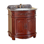"Bosconi - 32"" T-3606 Classic Single Vanity - Antique Red - This Bosconi Classic Single Vanity features intricately designed panels that further ad to the product's appeal. This model can serve as the centerpiece for a bathroom as it is not only functional, but is extremely appealing as well. Made with the finest beautiful Antique Red finish, Dark Emperador Marble and Antique Brass hardware, this model also features a single two-door cabinet to meet any storage requirement."