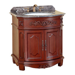 """Bosconi - 32"""" T-3606 Classic Single Vanity - Antique Red - This Bosconi Classic Single Vanity features intricately designed panels that further ad to the product's appeal. This model can serve as the centerpiece for a bathroom as it is not only functional, but is extremely appealing as well. Made with the finest beautiful Antique Red finish, Dark Emperador Marble and Antique Brass hardware, this model also features a single two-door cabinet to meet any storage requirement."""