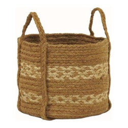 Victorian Heart Braided Basket, Khaki & Tan - A large basket placed next to a sofa in the family room is a great spot for corralling the kids' toys. The handles make carrying it to the kids' bedrooms or playroom a cinch at the end of the day. No kids? Pile folded blankets into the basket for easy reaching on cool nights.