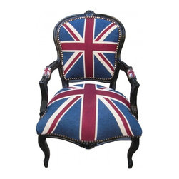 Lansky Studio - Beatrix French Louis XV Style Chair in Union Jack, Black - A fabulous French Rococo Style Armchair. Mahogany wood frame hand finished in black.Fabulous hand carvings.Union Jack (English flag) Fabric upholstery. Comes with nail heads throughout the frame.