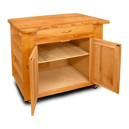 Catskill Craftsmen - The Deep Storage Island w Contoured Top & Low - With a contoured top for comfortable use and a generously sized storage cabinet with a middle shelf for added function, this kitchen island will be a versatile addition to any kitchen decor. It is made of hardwood veneer in oil finish and features side shelving for spices and other items and is on casters for mobility. Made of US hardwood veneer. Oil finish. Special contour top. Adjustable middle shelf allows maximum amount of storage space. Raised panel cabinet doors match the raised panel, large capacity drawer. Side shelves provide readily accessible storage. Locking caster wheels for easy mobility in the kitchen or stationary use when locked. Made in the USA. Overall: 26 in. L x 40 in. W x 34.5 in. H (129 lbs.). Table top: 26 in. L x 40 in. W. Interior cabinet: 20 in. L x 27.5 in. W x 22.25 in. H. Interior drawer: 18 in. L x 24.5 in. W x 4 in. H. Side shelf clearance: 3.68 in. L x 20 in. W x 6.5 in. HThe Deep Storage Island features two options for the table top to suit any kitchen.