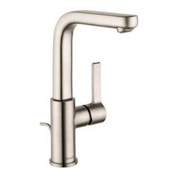Hansgrohe Metris S 31161821 Single Hole Bathroom Faucet - Give your bathroom the makeover it deserves with the Hansgrohe Metris S 31161821 Single Hole Bathroom Faucet and its refined modern styling. Its brushed nickel finish gives a softness to the look that's more than easy on the eyes. While the swiveling spout gives you great access to the basin, the single handle operates smoothly to your delight. This faucet is even eco friendly, running at just 1.5 gallons per minute. Its solid brass construction ensures a long life of reliable use in your bathroom.Product SpecificationsLow Lead Compliant: YesEco Friendly: YesMade in the USA YesHandle Style: LeverValve Type: Ceramic DiscFlow Rate (GPM): Spout Height: inchesSpout Reach: inchesAbout the Hansgrohe GroupIn 1901, the Hansgrohe Group was founded in Schiltach in the Black Forest in Germany by Hans Grohe. Headquarters for Hansgrohe are still located there today. With a firm establishment in the sanitation industry, Hansgrohe offers progressive, design-oriented bathroom solutions and cutting-edge bathroom products. Successful world-wide, Hansgrohe has 10 production facilities on three continents, and sales companies and consulting support locations in 36 countries. Hansgrohe's five-star recipe for success includes, innovative products, a sustainable business concept, and the passion for the element of water.