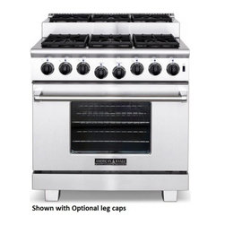 """American Range - Titan Series ARR-366IS-N 36"""" Freestanding Natural Gas Range With 6 Sealed Burner - Titan range with 6 sealed step-up burners 36 Innovection oven with Inconel infrared broiler in oven Welded island back included and installed Shown with optional leg caps"""