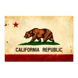 Past Time Signs - California Flag Metal Sign 36 x 24 Inches - -Width: 36 Inches