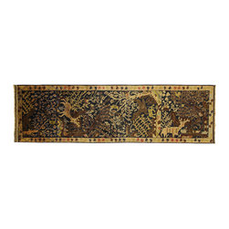 Manhattan Rugs - Blue pictorial Tribal Hand Knotted Oriental Runner 3 X 10 Wool Persian Rug P762 - Baluch