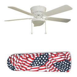 "American Flag 52"" Ceiling Fan with Lamp - This is a brand new 52-inch 5-blade ceiling fan with a dome light kit and designer blades and will be shipped in original box. It is white with a flushmount design and is adjustable for downrods if needed. This fan features 3-speed reversible airflow for energy efficiency all year long. Comes with Light kit and complete installation/assembly instructions. The blades are easy to clean using a damp-not wet cloth. The design is on one side only/opposite side is bleached oak. Made using environmentally friendly, non-toxic products. This is not a licensed product, but is made with fully licensed products. Note: Fan comes with custom blades only."