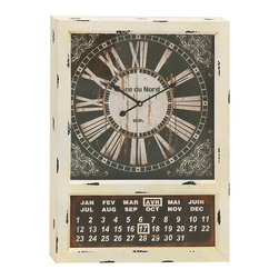 Vintage-Styled Metal Calendar Clock - Are you looking for antique metal calendar clock for your abode? Get this and adorn your interiors gracefully. Made of quality materials this calendar clock will last for long and is easy to maintain. This is in Rectangular shape with the dial pad at top and the calendar at the bottom. The dial pad has floral theme artistic work. The rustic and contrasting black and off-white color gives adorable appeal to the clock. This exclusive metal calendar clock shall add touch of creativity to your room space. You can adorn the bare walls of your living space with this charming calendar clock. You can also adorn the interiors of your workplace by fixing this metal calendar clock. This clock will grab attention of many and also make you win appreciations from them. The metal calendar clock can be gifted to your friends and family or those who appreciate creativity. It is a must accessory if you wish to add creativity to your room or any other space.