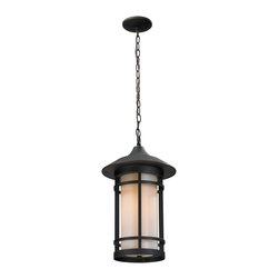 Z-Lite - Rubbed Bronze Woodland 1 Light Outdoor Pendant with Matte Opal Shade - Todays contemporary homes as well as homes of the craftsmen style are particularly well suited with the classic styling of this large outdoor chain light. This fixture has oil rubbed bronze finish with matte opal glass.