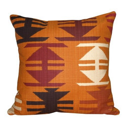 Pillow Decor - Pillow Decor - Tribal Orange 22 x 22 Decorative Pillow - Add some wow to your decor with this bold graphic tribal pattern throw pillow. Warm colors in deep tones and the rich soft texture of the broad weave cotton-blend fabric give this pillow the look and feel of authenticity.