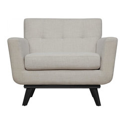 TOV Furniture - James Chair   Beige Linen - Featuring handcrafted kiln dried wood frame with solid birch legs, cushioned arms, and beige linen upholstery with small scale tufting, James Chair offers an essence of Mid-Century style that refuses to fade into obscurity.