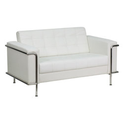 Flash Furniture - Lesley Contemporary White Leather Love Seat with Encasing Frame - This attractive white leather reception love seat will complete your upscale reception area. The design of this love seat allows it to adapt in a multitude of environments with its tufted cushions and visible accent stainless steel frame.