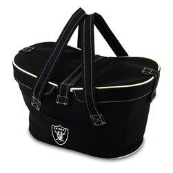 Picnic Time - Oakland Raiders Mercado Picnic Basket in Black - This Mercado Basket combines the fun and romance of a basket with the practicality of a lightweight canvas tote. It's made of polyester with water-resistant PEVA liner and has a fully removable lid for more versatility. Take it to the farmers market, the beach, or use it in the car for long trips. Carry food or sundries to and from home, or pack a lunch for you and your friends or family to share when you reach your destination. The Mercado is the perfect all-around soft-sided, insulated basket cooler to use when you want to transport a lunch or food items and look fashionable doing it.; Decoration: Digital Print; Includes: 1 removable canvas lid