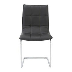 Euro Style - Side Chair - Set of 2 - Set of 2. Leatherette over foam seat and back in quilted pattern. Chromed steel base. Soft, easy to clean leatherette. Durable steel frame. Warranty: One year. Black and chrome finish. 24 in. W x 18.5 in. D x 34.25 in. H. Assembly Instructions
